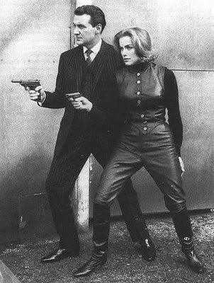 Honor Blackman switched to leather outfits because during a fight scene, she split open her pants. An even better solution to that wardrobe malfunction would have been pantsless fighting, a.k.a. trousersless fighting, which would have made the show's ratings go up 1000 percent.