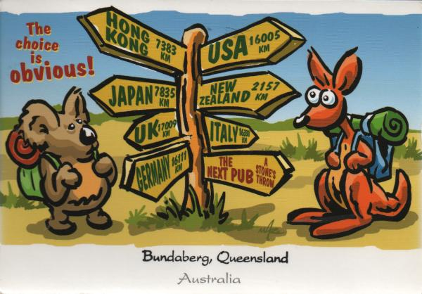 cartoon signpost showing direction to various cities and the nearest pub