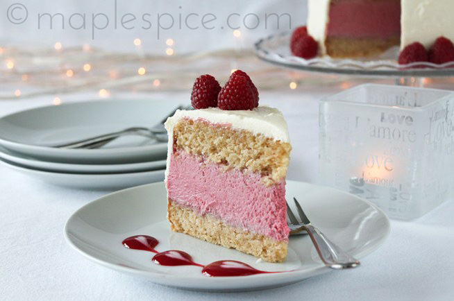 VEGAN Raspberry White Chocolate Mousse Cake...