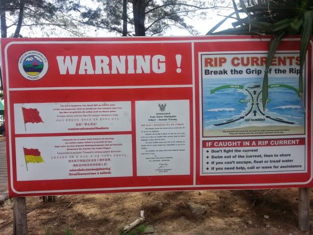 Sign warning swimmers at Karon Beach - Phuket