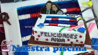 Tarta fondant piscina Laia's Cupcakes Puerto Sagunto
