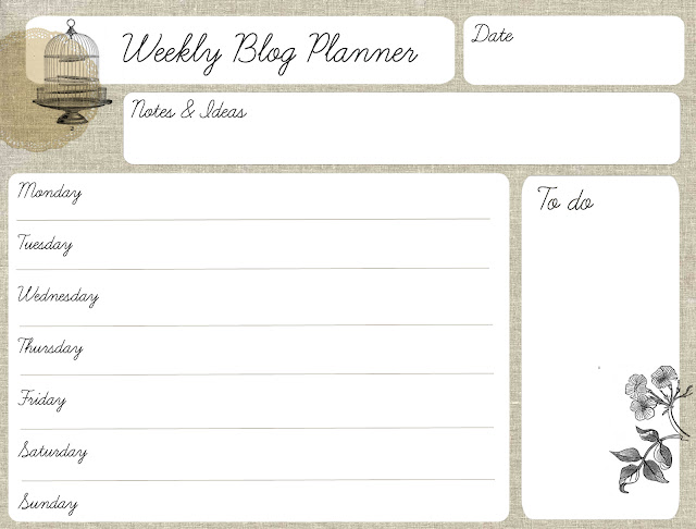 Imprimible Planificador semanal blog - free printable weekly planner