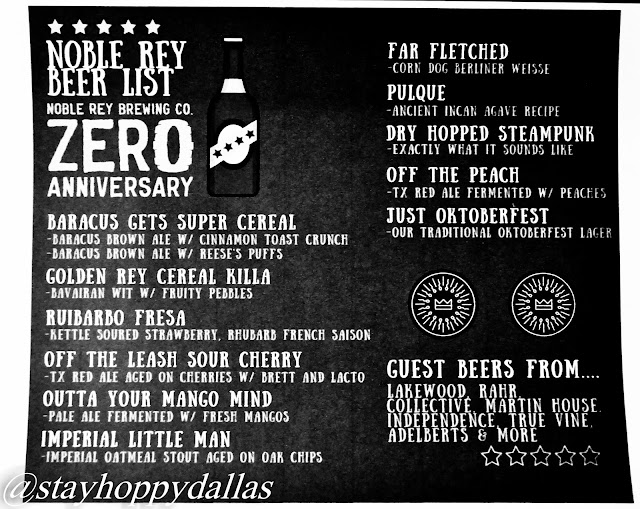 Noble Rey Brewing Zero Anniversary Tap List