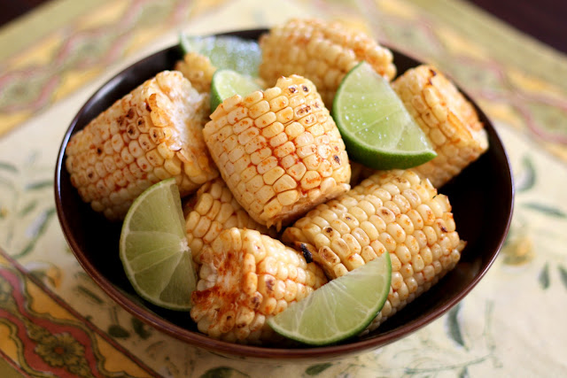 Barefeet In The Kitchen: Broiled or Grilled Chili Lime Corn on the Cob