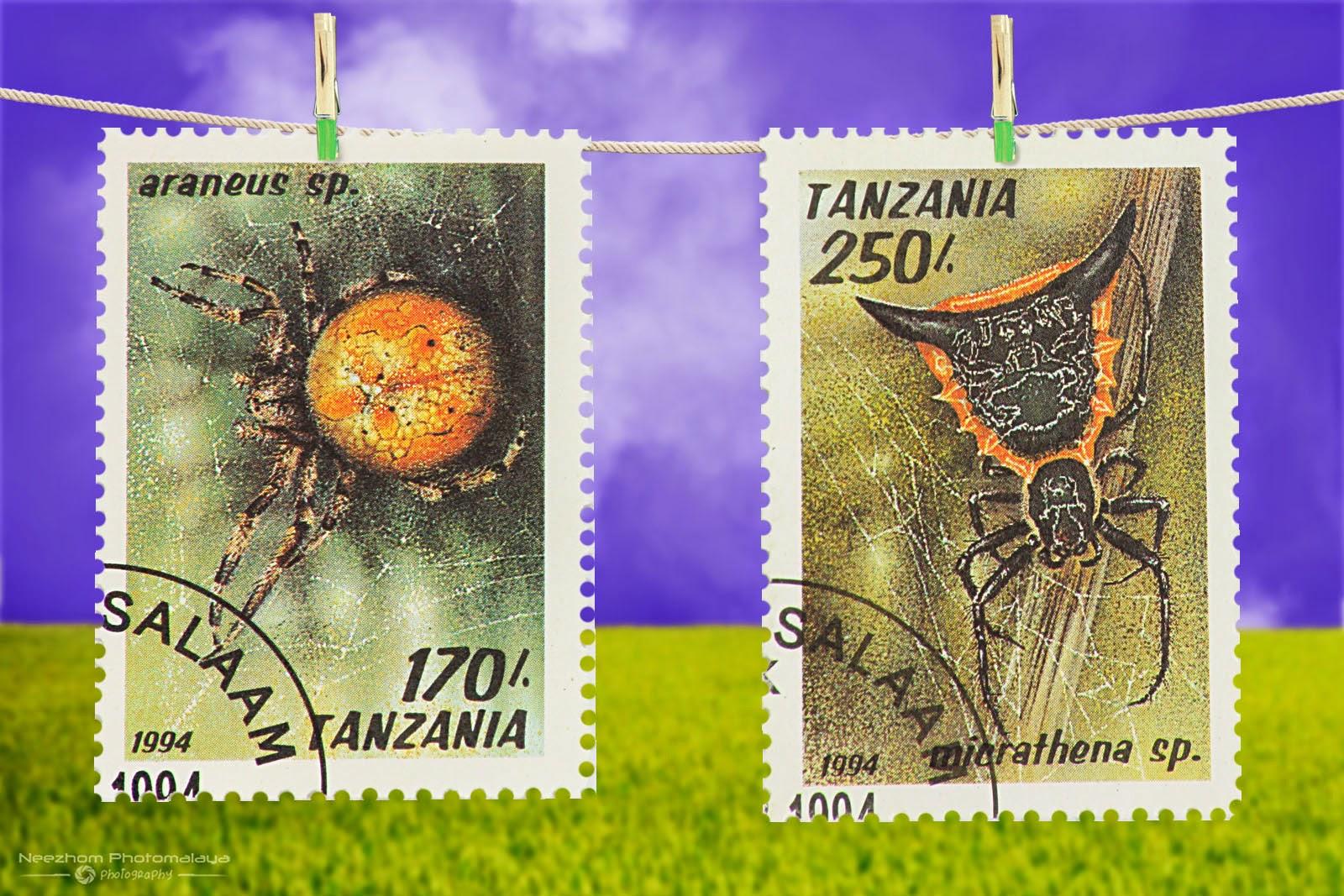 Tanzania Arachnids stamps 1994 - Araneus sp, Micrathena sp