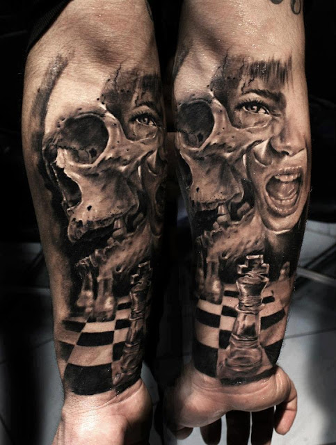 Life and death tattoo on arm