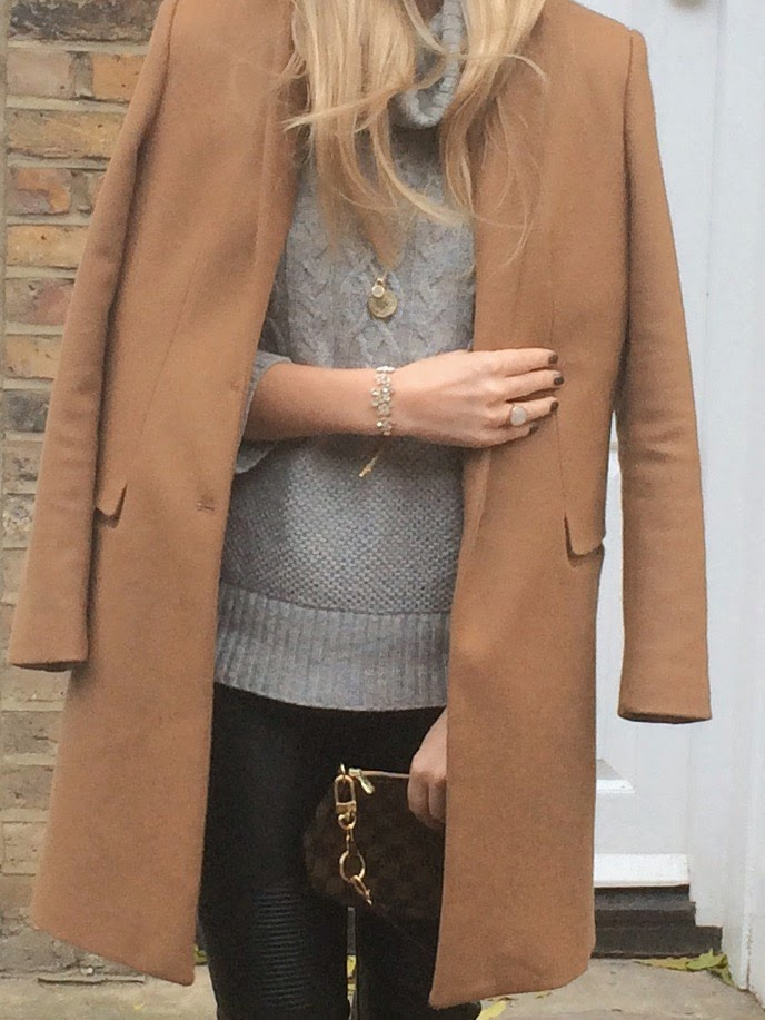 Zara camel coat, grey jumper, monica vinader jewellery, monica vinader pendant, monica vinader necklace, louis vuitton bag, leather pants, zara leather pants, blonde hair, fashion blogger