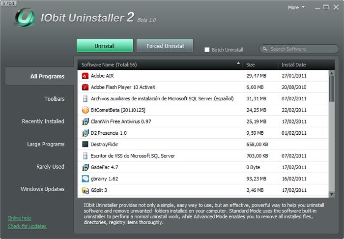 IObit Uninstaller mostra de cara a lista dos aplicativos instalados ao ser executado