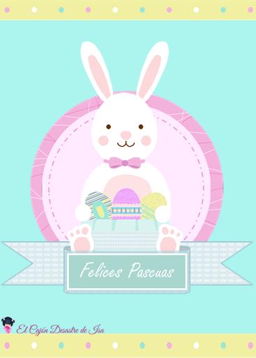 "tarjeta felicitación ""Felices Pascuas"" con conejo de Pascua"