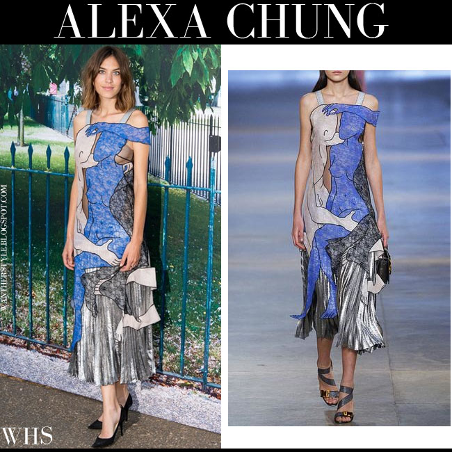 Alexa Chung in blue lace bodice dress with silver pleats from Christopher Kane what she wore july 2
