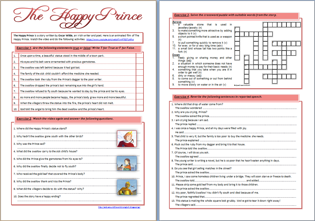 Around the World in English: The Happy Prince by Oscar Wilde (worksheet)