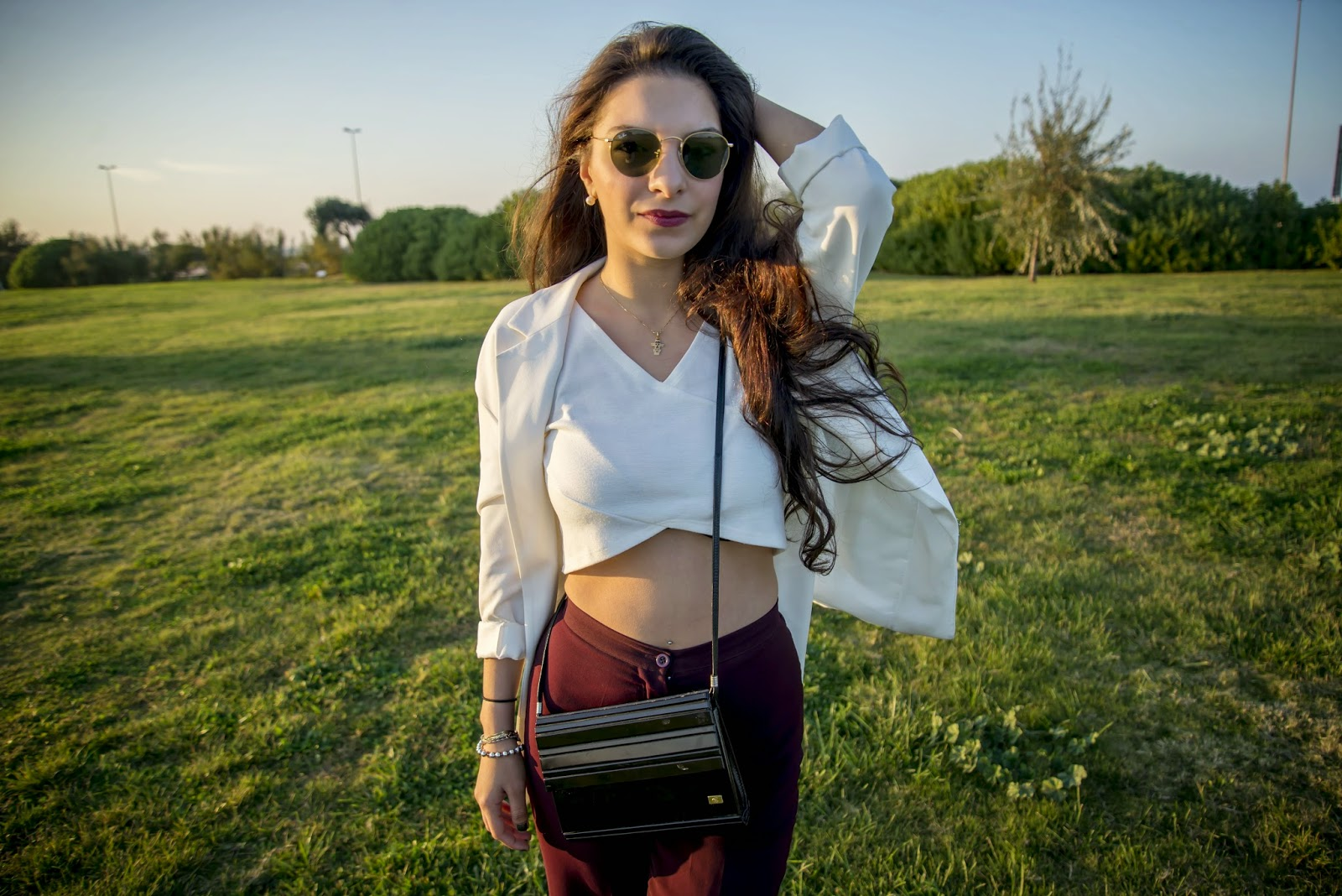 outfit of the day, park, crop top, stradivarius blazer, sunny day, fashion blogger, fashion trends 2014, Fall trends 2014