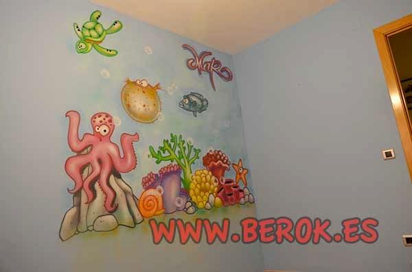 Murales infantiles para bebé de fondo marino