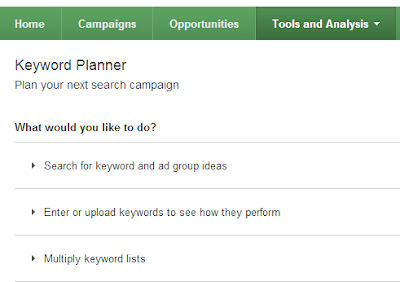 keyword planner features