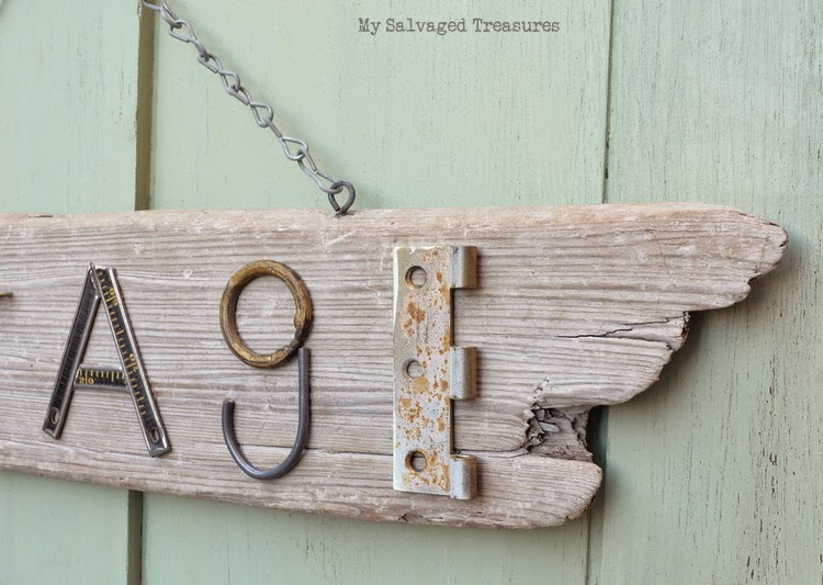 Salvaged junk driftwood cottage sign