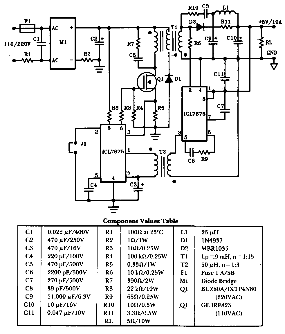 50w Offline Switching Power Supply Circuit Diagram