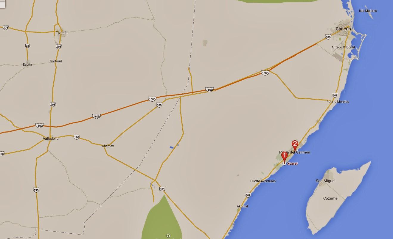 Mapa día 2 viaje a la Riviera Maya, México