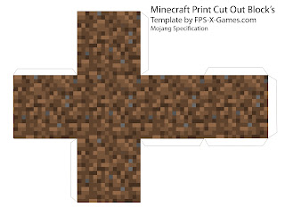 Minecraft dirt block papercraft cut out template