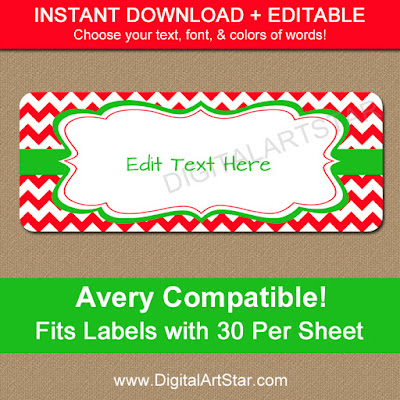 printable editable holiday address labels with red & white chevron