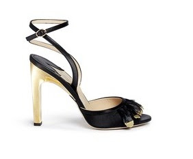 Paul Andrew black and gold feathered peeptoe heels