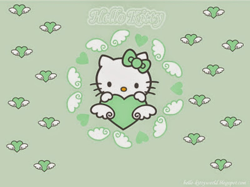 Gambar Hello Kitty hijau wallpaper gratis