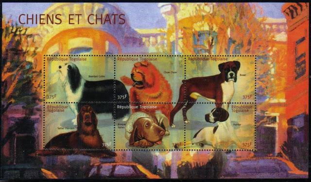 年度不明トーゴ共和国 ボクサー アイリッシュ・セター ブラッコ・イタリアーノなど6犬種の切手シート