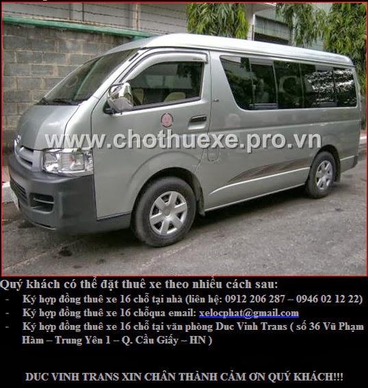 Cho thuê xe 16 Toyota Hiace
