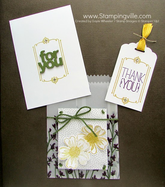Three piece Mini Treat Bag Gift Card Holder by Stampingville. #papercrafts #cardmaking #StampinUp