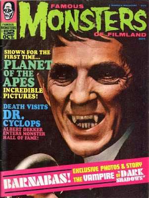 Cover of Famous Monsters of Filmland #52 featuring Jonathan Frid as Barnabas Collins