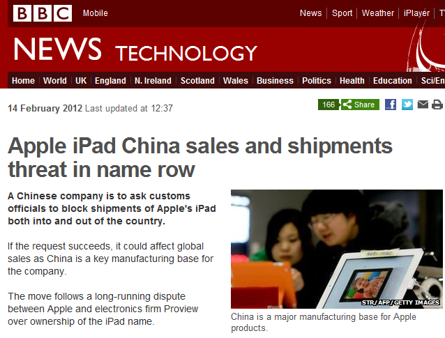 Apple iPad China sales and shipments threat in name row. No, really.