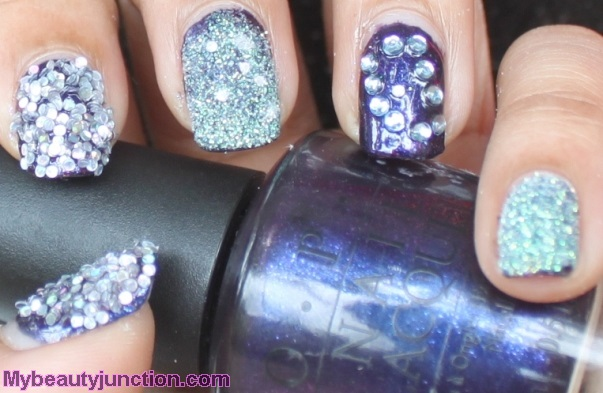Blingy glitter NOTD over O.P.I. Ink nail polish