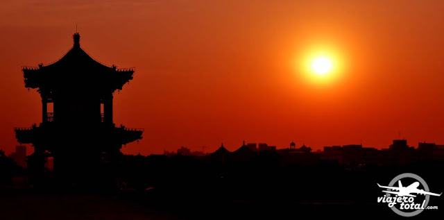 Atardeciendo sobre la muralla de Xi'an