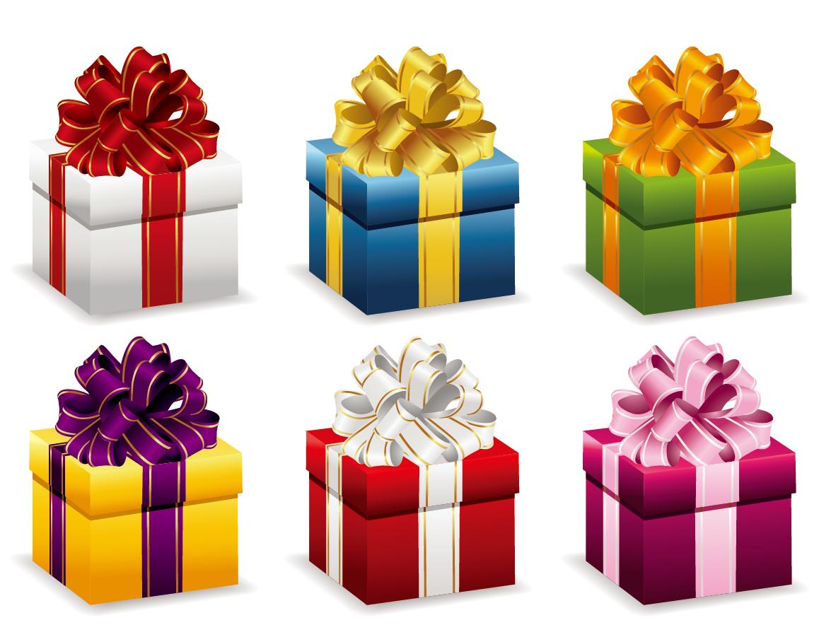 お洒落なリボン飾りのプレゼント箱 Gift Boxes with Ribbon Vector Illustration イラスト素材