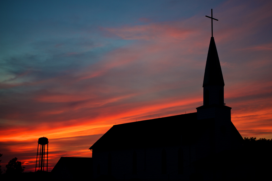 This Sunset With A Rural Water Tower And Country Church Silhouetted Was Taken South Of Hartford North Wall Lake