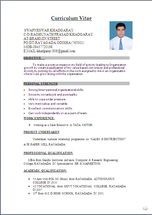 simple resume template indian resume format - Download Resume Format