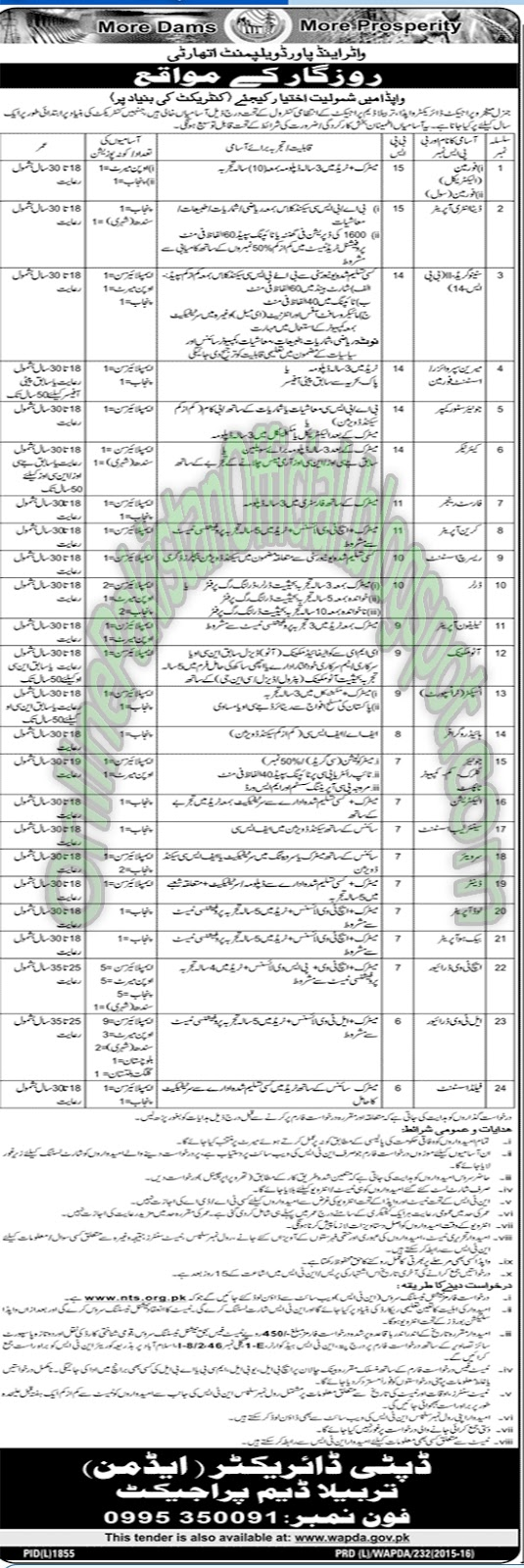 Deputy Director Tarbela Dam Project -Islamabad jobs latest