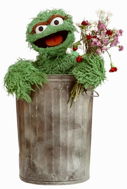 Oscar the Grouch, trashcan, Sesame Street, children, kids, wilted flowers, puppet