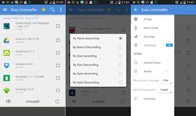 Android Easy Uninstaller இலவச செயலி