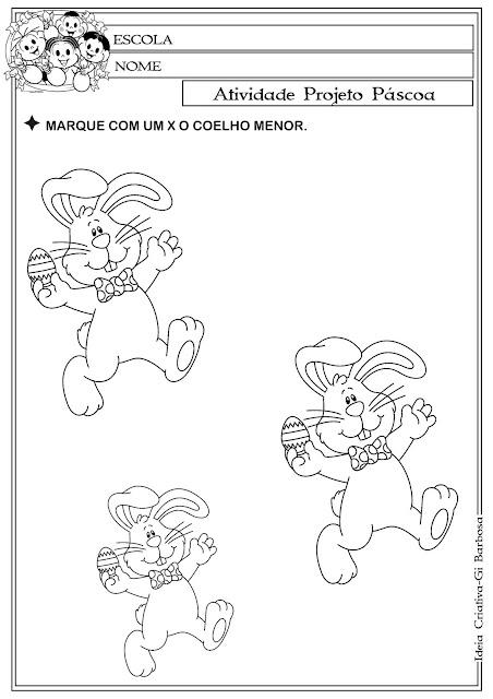 Atividade Páscoa Comercial / Conceitos MAIOR E MENOR