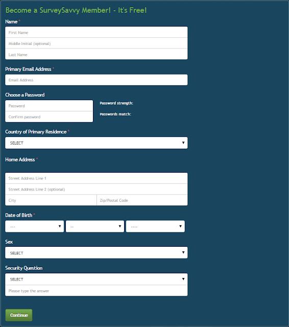 SurveySavvy registration form