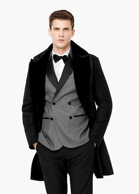 manteau mango col fourrure noir