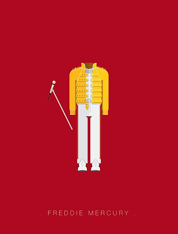 Freddie Mercury flat illustration
