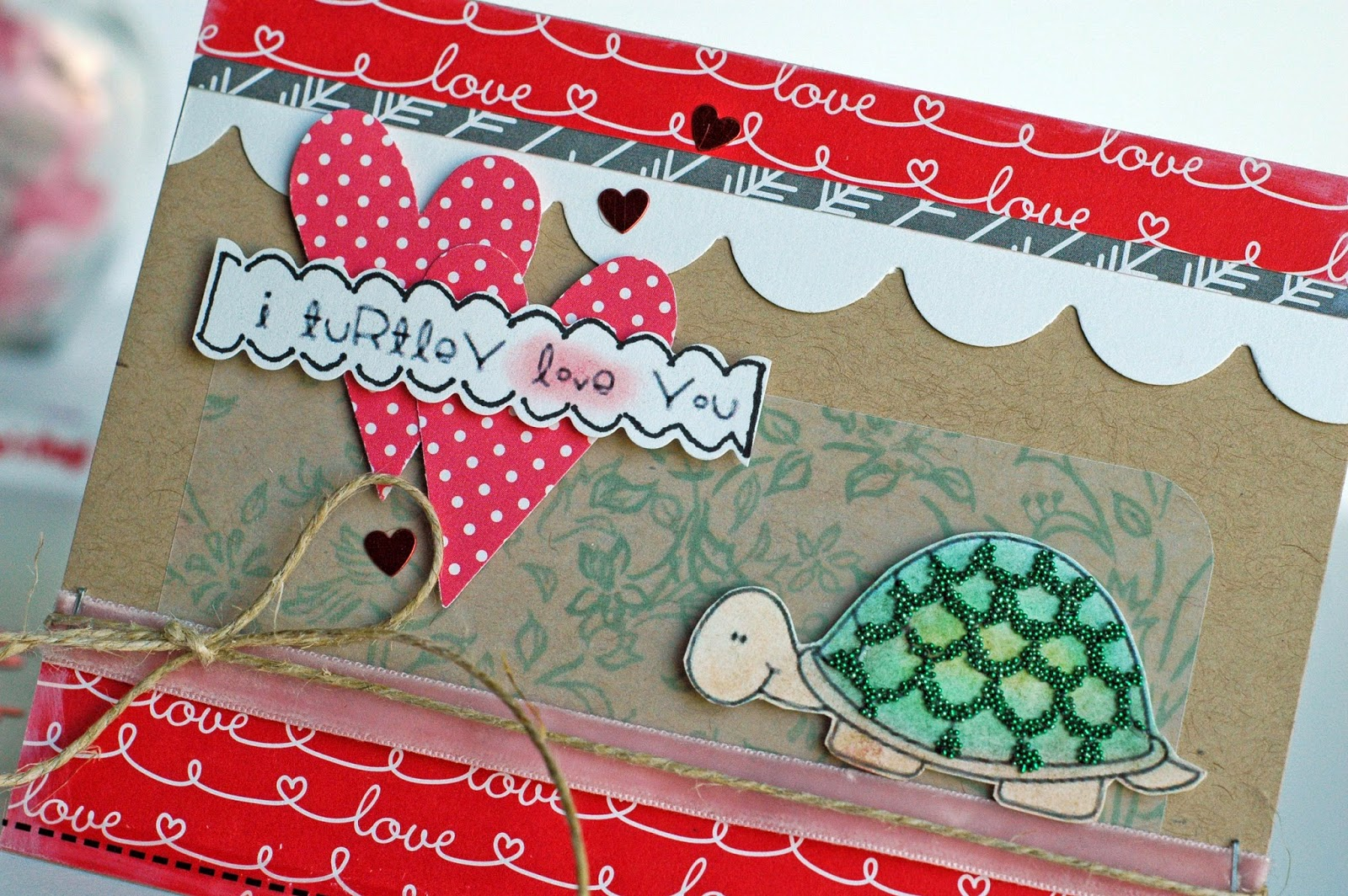SRM Stickers Blog - I Turtley Love You Card by Cassonda - #janesdoodles #clearstamps #stickers #valentines #card