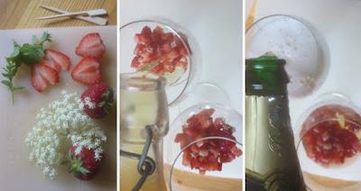 Zubereitung Egon - Sommerdrink Erdbeere-Holunder-Sekt mit Rezept