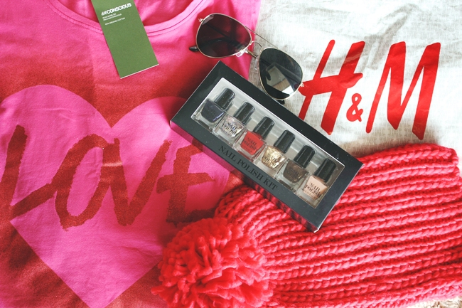 H&M silver sunglasses, red knitted hat and pink nightdress
