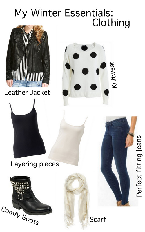 My winter clothing essentials for winter, leather jacket, knitwear, singlets, jeans, boots and scarves