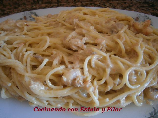 Cocinando con estela y pilar espaguetis con at n y gambas en thermomix - Espagueti con gambas y nata ...