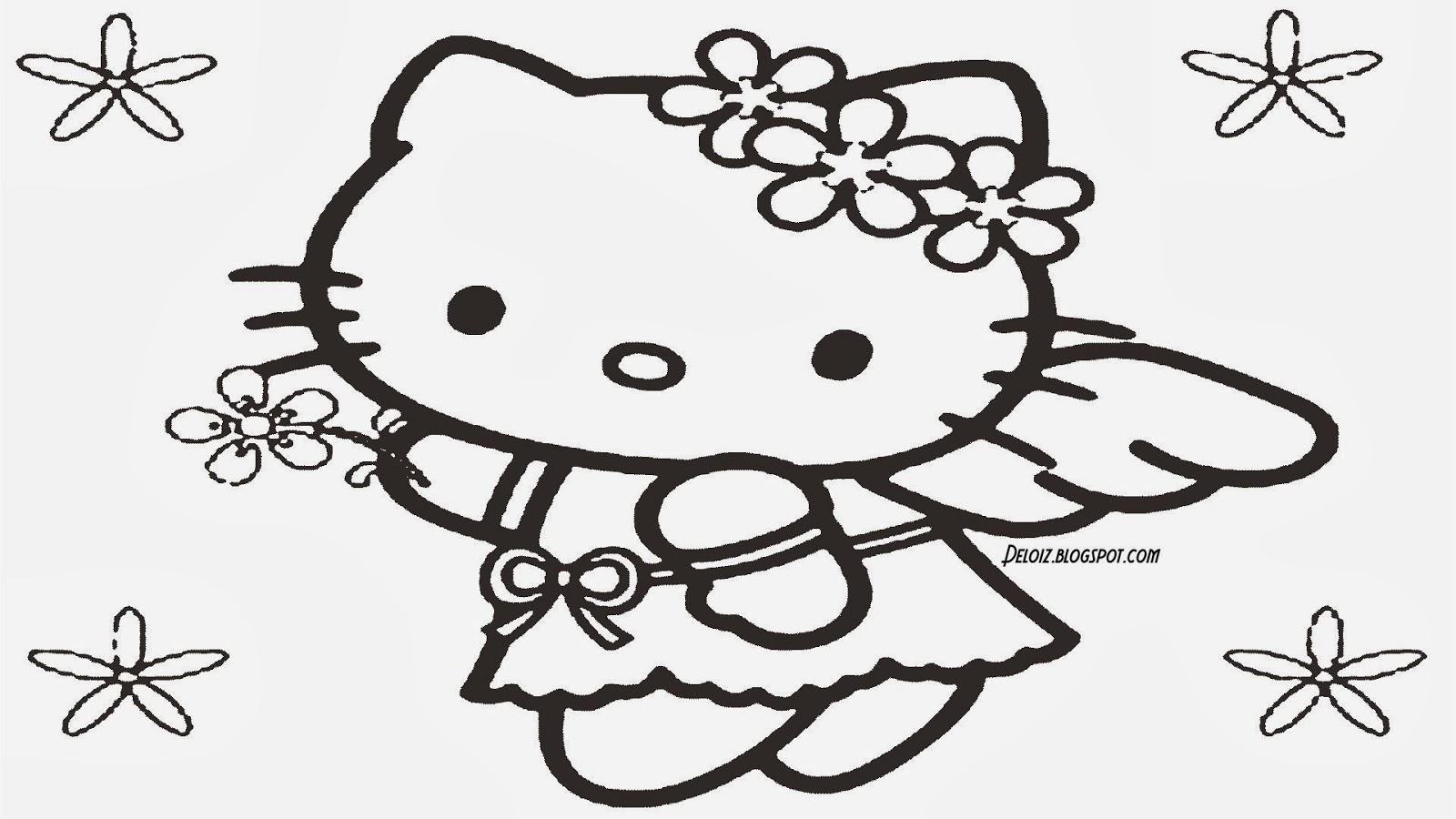 Gambar Hello Kitty Untuk Diwarnai