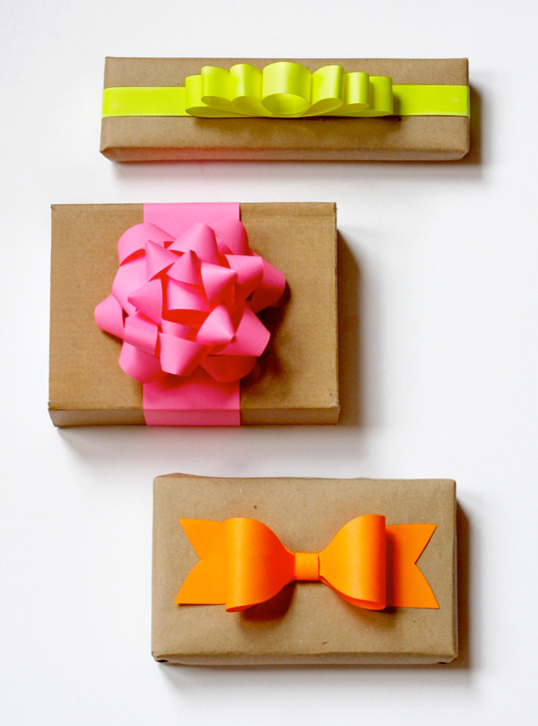 Diy neon paper gift bows how about orange brown paper bags and neon paper can yield some nice looking gift packaging i made these bows with more of the astrobright neon paper i mentioned yesterday negle Images
