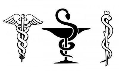 لماذا شعار الطب عصا يلتف عليها حية بينما شعار الصيدلية كأس يلتف عليه حية